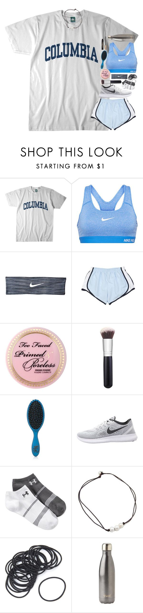 """day 3// athletics!!"" by sdyerrtx ❤ liked on Polyvore featuring Columbia, NIKE, Too Faced Cosmetics, Morphe, The Wet Brush, Under Armour, S'well, L'Oréal Paris and katesbtsb2k16"