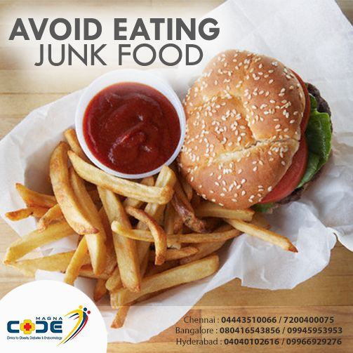 Avoid Eating Junk Foods! Eating junk food can contribute to weight gain. This makes it more difficult for people with #diabetes to regulate blood sugar levels. Know more @ http://bit.ly/24qblNx For more mail us: magnacodechennai@gmail.com, magnacode.blr@gmail.com, dr.magnacode@gmail.com