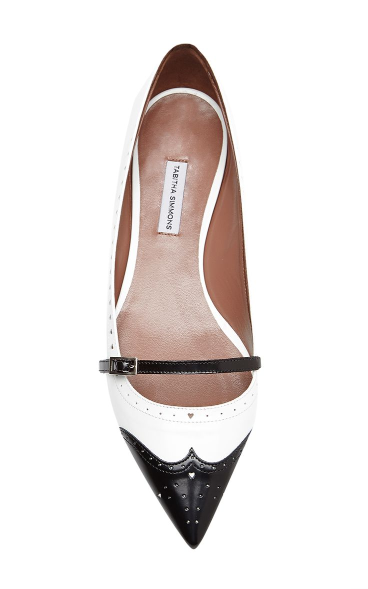 These feminine flats from Tabitha Simmons feature a whimsical pointed toe  and perforated detailing.