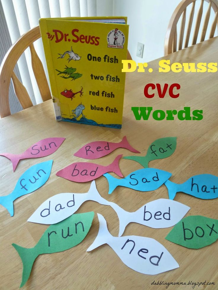 Great hands-on learning idea for extending learning from a Dr. Seussbook, One Fish, Two Fish, Red Fish Blue Fish using this CVC Word Hunt