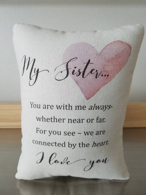 Sister Gift Pillow Quote Throw Pillow Gift For Sister Cotton Cushion