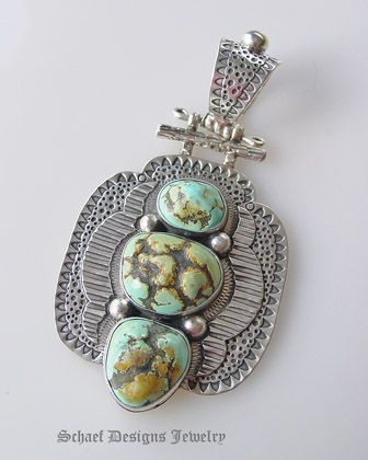 Rare Blue Moon Turquoise & sterling silver pendant by David Troutman
