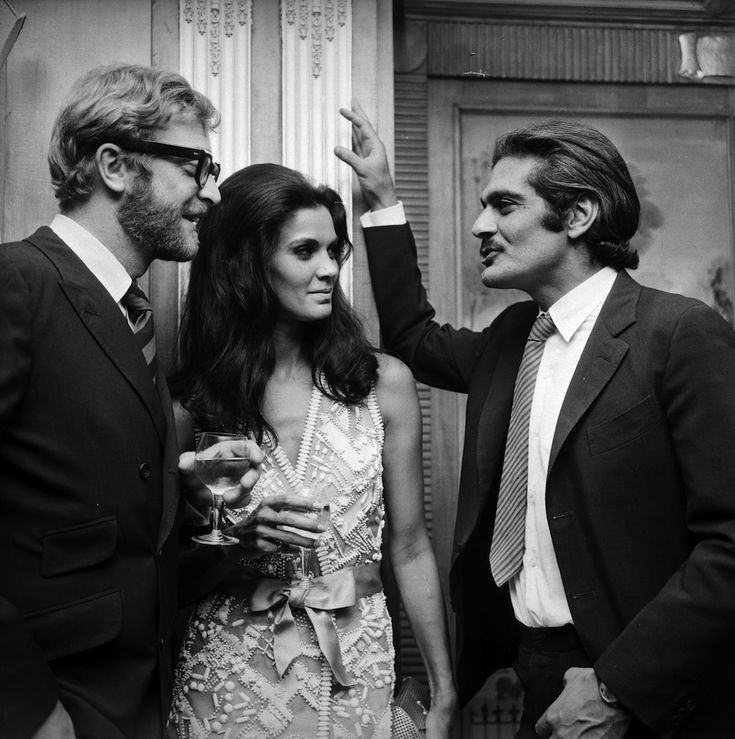Michael Caine, Florinda Bolkan and Omar Sharif, London 1969