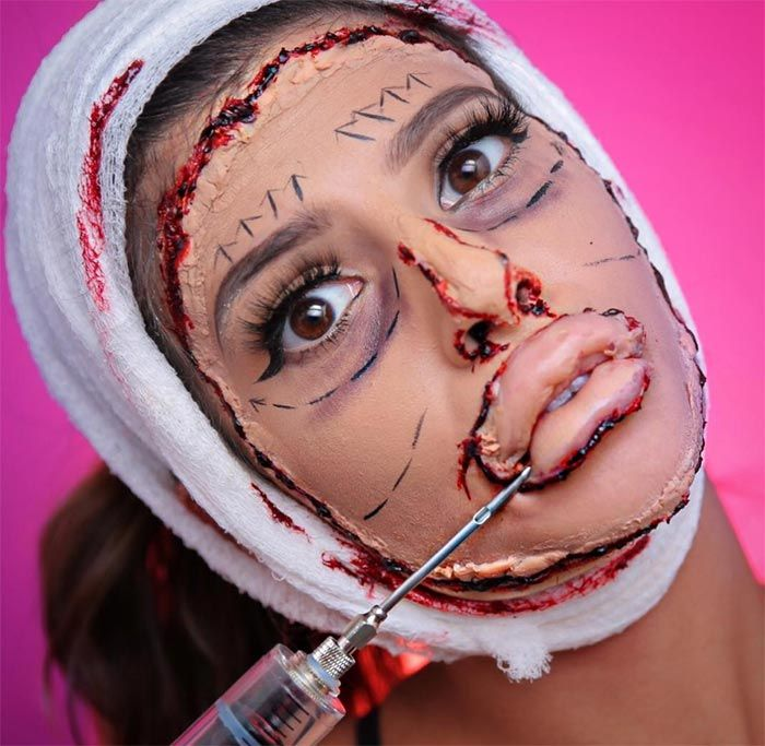 Creative Halloween Makeup Ideas: Botched Bad Plastic Surgery Halloween Makeup