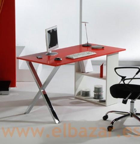 Mesa escritorio/oficina Woxes, madera rojo y cromado, estantes
