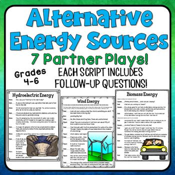Alternative Energy Partner Plays: This set of seven scripts focuses on renewable resources, nonrenewable resources, and alternative energy options. They can certainly be used at any time of the year, but they would be an excellent activity for Earth Day!As an added bonus, these partner play scripts are intended to be used as fluency-building activities that students read with a partner.