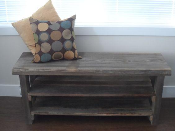 Reclaimed wood shoe rack Rustic shoe rack by KastelHomesFurniture, $120.00