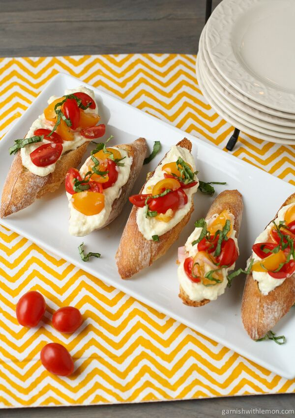 Crostini with Whipped Feta and Tomatoes ~ http://www.garnishwithlemon.com