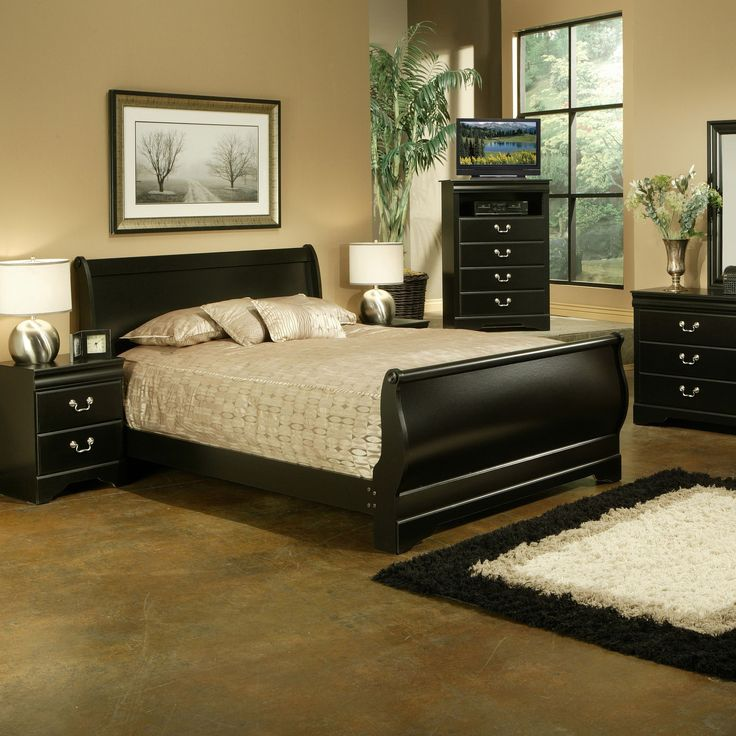 Sandberg Furniture Regency Traditional Black Sleigh Bed (Queen)