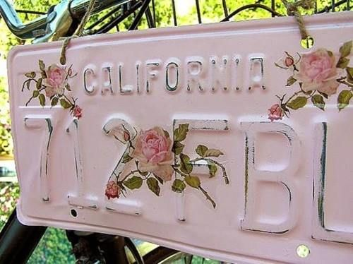 Shabby chic license plate. Love it! :)                                                                                                                                                                                 More