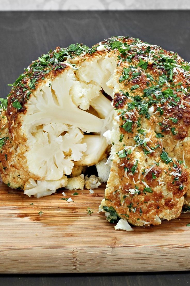 Seasoned Whole Roasted Cauliflower: http://www.kitchme.com/the-dish/25-clever-ways-to-cut-carbs-with-cauliflower/