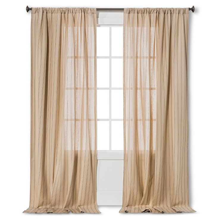 "Pinstripe Curtain Panel Almond Cream (54""x95"") - Nate Berkus, Variation Parent"