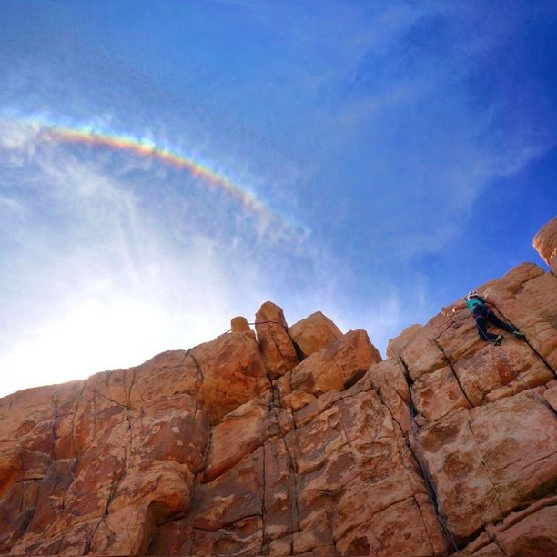 Joshua Tree National Park, Riverside County, California — by Bernini. Hoping to find a pot of gold at the end of this rainbow! Climbing the Thin Wall in Joshua Tree #NationalPark
