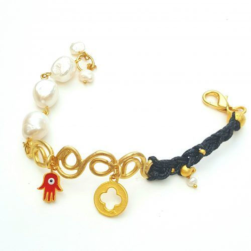 Designer Charm Bracelet with Leather and Gold Plated Filigree – Chiki Custom made unique jewelry
