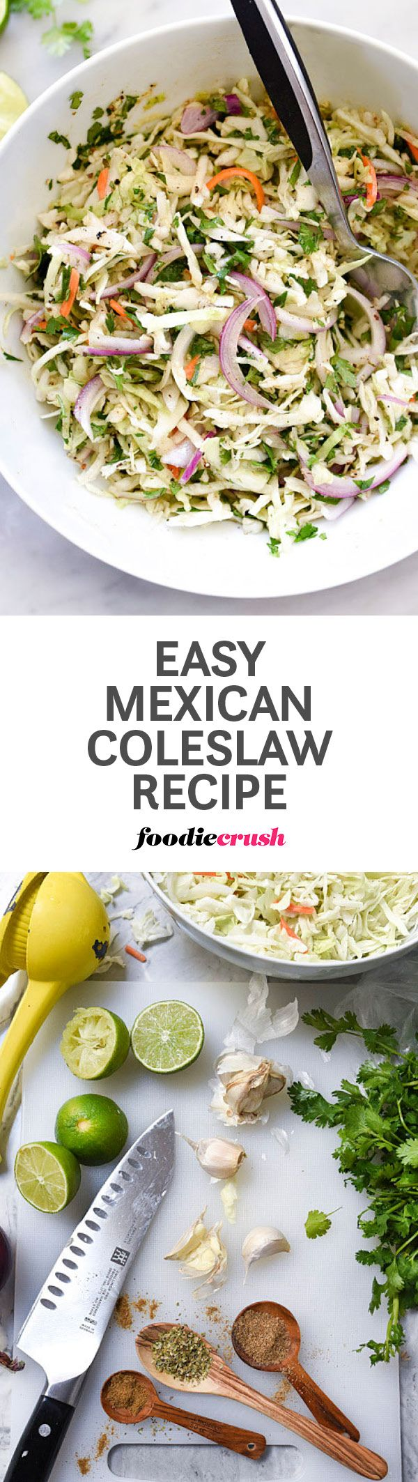 This super simple, fresh tasting Mexican flavored coleslaw is perfect for picnics, BBQs and potlucks as it doesn't contain any mayo and takes just a few minutes to toss together | foodiecrush.com #coleslaw #mexican