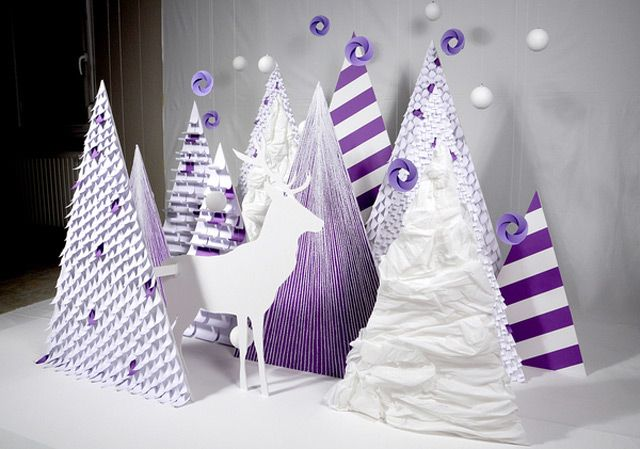 Zim and Zou Paper Forest Greeting Card Installation