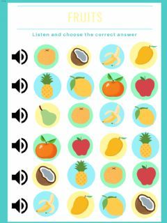 Ejercicios de Fruits online o para imprimir.