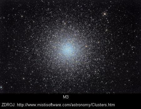 NGC 5272, M3  Souhvězdí: Honicí psi      M3 je jedena z nejvýznačnějších kulových hvězdokup, obsahující přibližně půl milionu hvězd. Se vzdáleností 10,4 kpc je mnohem dál než je střed naší Galaxie.