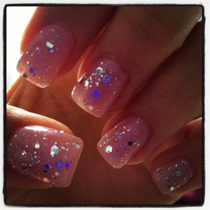 Light pink nails polish with glitter... My festive nails