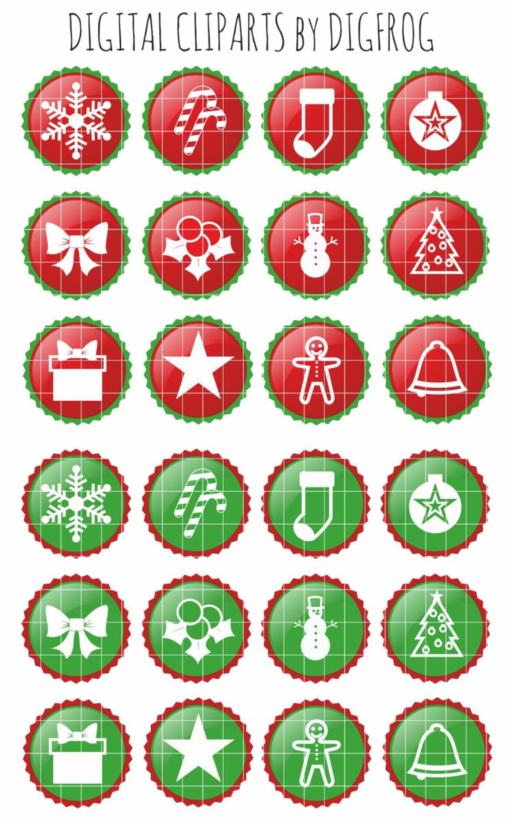 Christmas buttons clipart, paper crafts, nursery decor, card making, cupcake toppers, scrapbooking, star snowflake christmas tree snowman by DigiFrog on Etsy