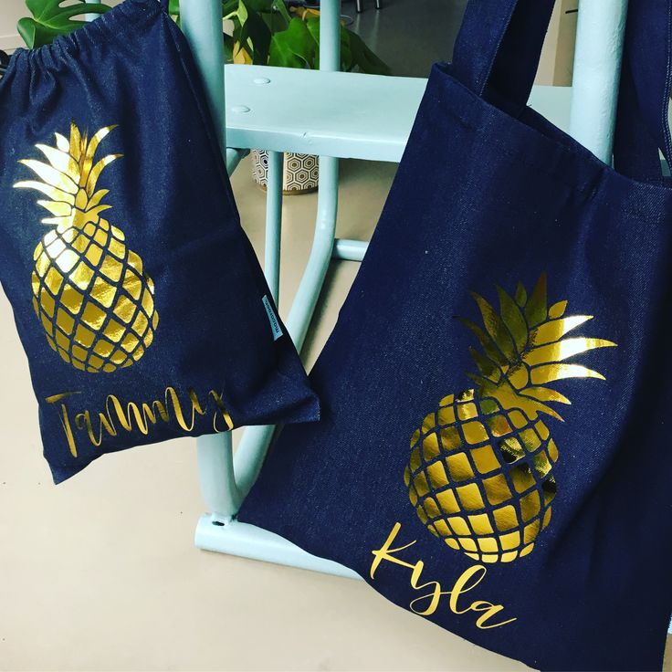 Pineapple tore bags - personalized Personalize online - select your favorite design from our broad range at www.macaroon.co.za