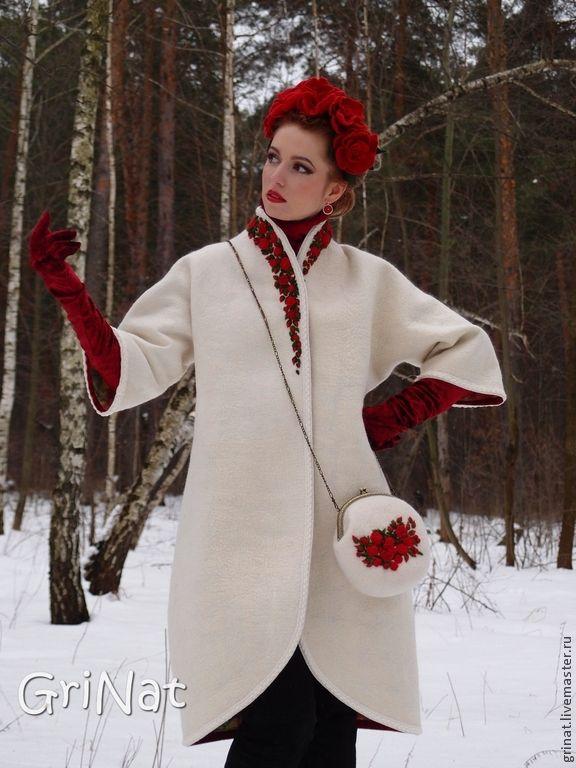 """Купить Валяное пальто""""Искушение"""" - белый, цветочный, пальто женское, Пальто ручной работы, grinat"""