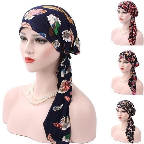 Cheap 2017 New Spring Women Printing Cancer Chemo Hat Beanie Scarf Turban Colorf…   – Scarves