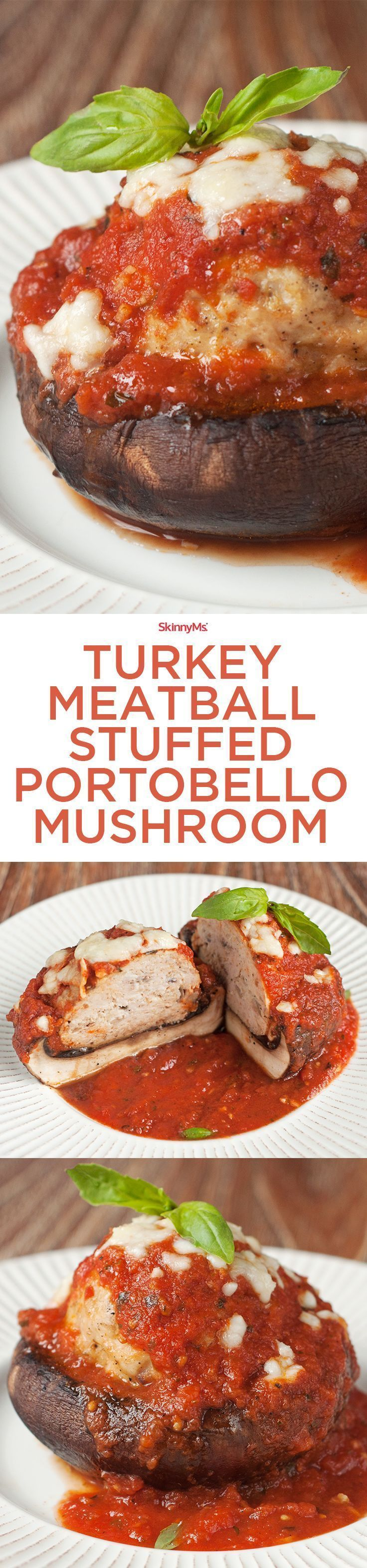 Beautiful turkey meatball stuffed portobello mushrooms are topped with marinara and mozzarella, making them as delicious as they are healthy.