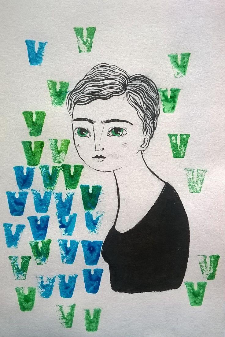 V, disegno nato in una giornata di pioggia  2016, Vera Lazzarini
