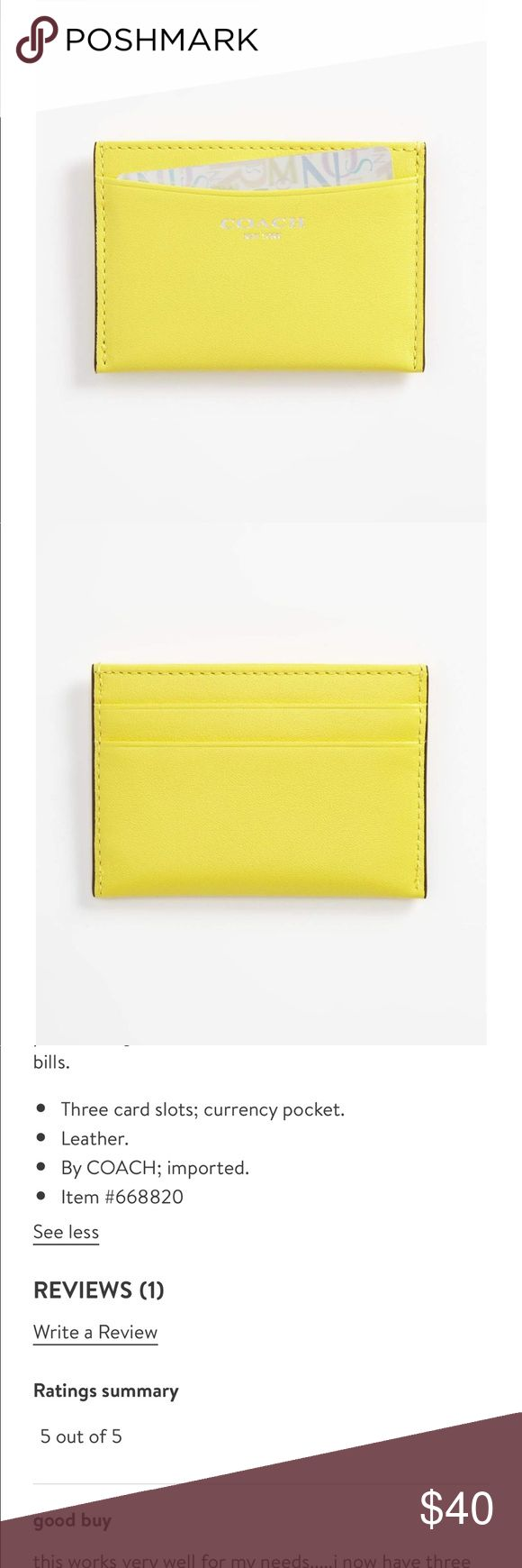 Coach legacy card case Lemon Coach legacy card case NWT Lemon details above Coach Accessories Key & Card Holders