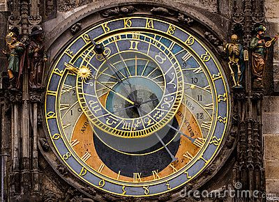 Historical medieval astronomical Clock in Prague on Old Town Hall .