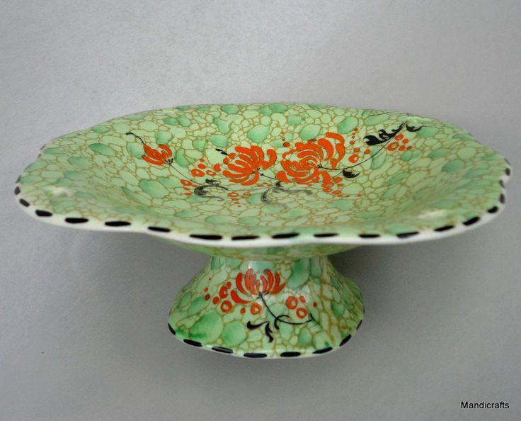 Royal Winton Grimwades BonBon Candy #Dish 6in #Pedestal 1930s Green Pebbles Vtg #RoyalWintonGrimwades