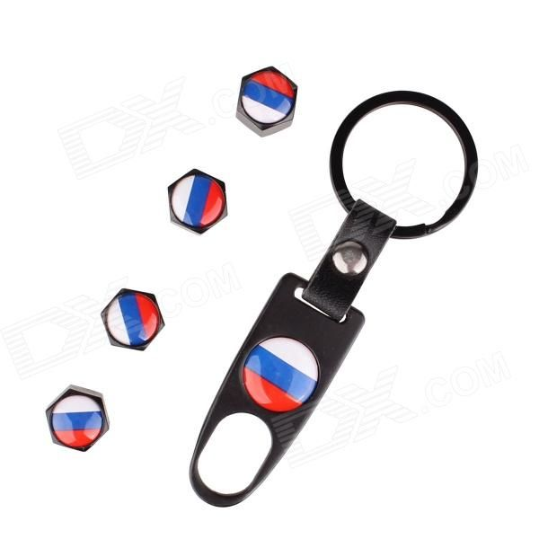 Russian Flag Replacement Aluminum Alloy Car Tire Valve Caps + Key Ring Set - Black (4 PCS) - Free Shipping - DealExtreme