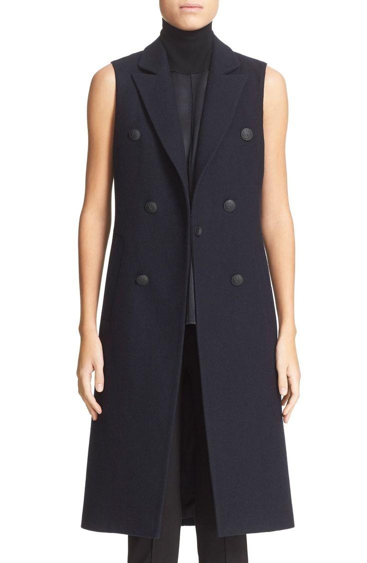Hintd - 'Faye' Longline Double Breasted Wool Blend Vest