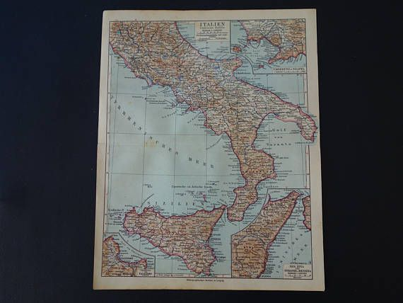 ITALY old map of Italy 1926 detailed vintage print about south