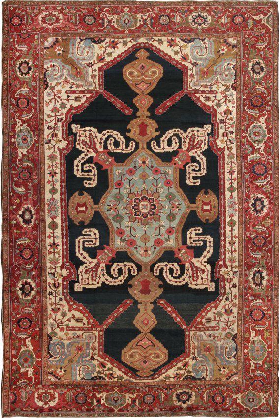 Antique Heriz Serapi Persian Rugs : Lot 105