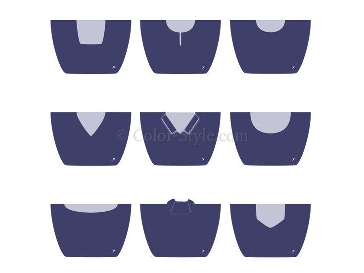 Dieses für die Stilberatung konzipierte Set enthält 9 populäre Ausschnittformen und Kragenformen. Die jeweiligen Ausschnitte werden wie der Brustpanzer einer Ritterrüstung auf die zu beratende Person gelegt und am Nacken mit einer Stecklasche verschlossen.