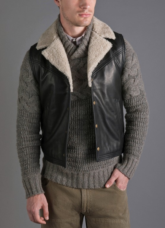 Billy Reid - black Danly vest, grey Sibley shawl sweater, orange white monogram oxford shirt, military gree panel pant