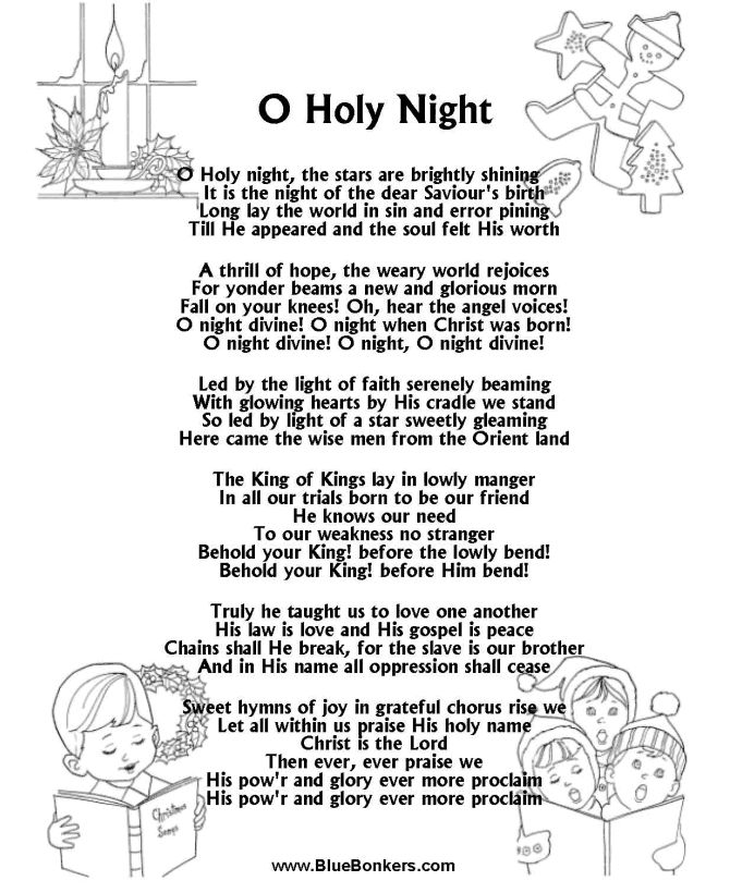 Printable Christmas Carol Lyrics sheet :  O Holy Night