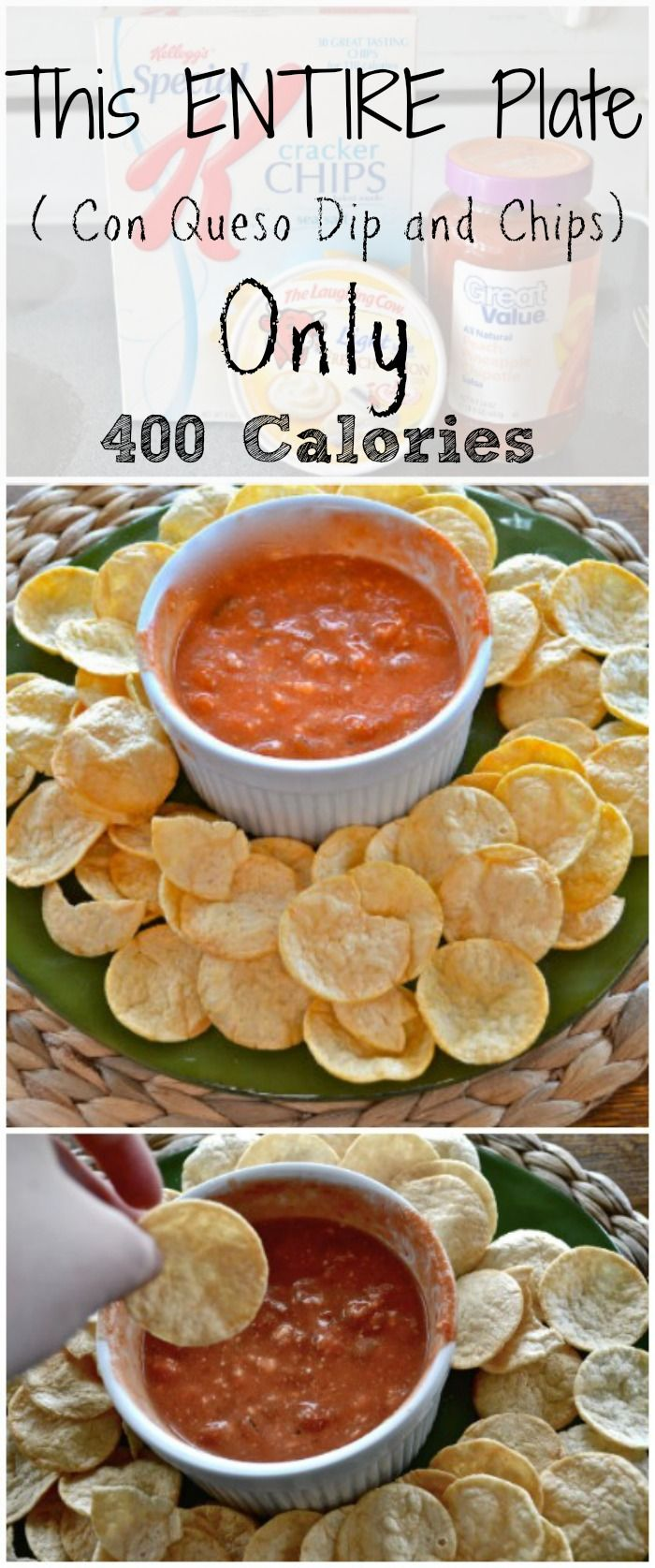 Low Calorie Con Queso Dip with Cracker Chips. - yum!
