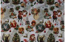 Vánoční dekorační látka s digitálním tiskem koled 1090/015