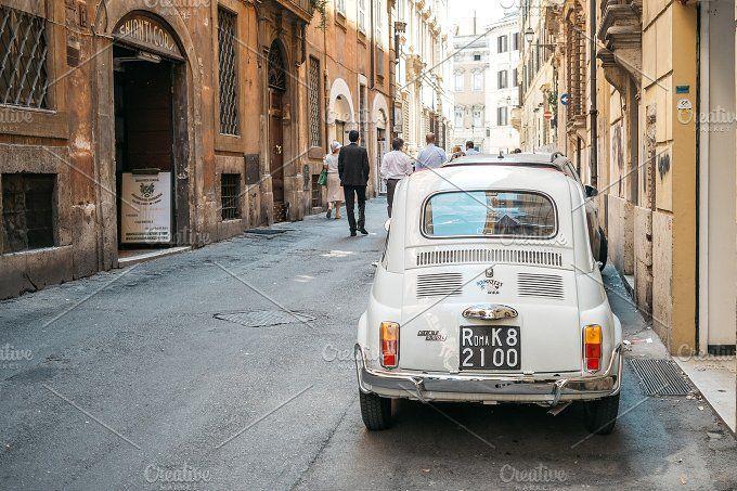 Fiat 500 in Rome, Italy by Borishots on @creativemarket