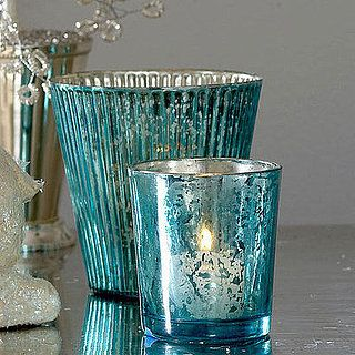 turquoise mercury glass! Now we need to figure out how to do that!