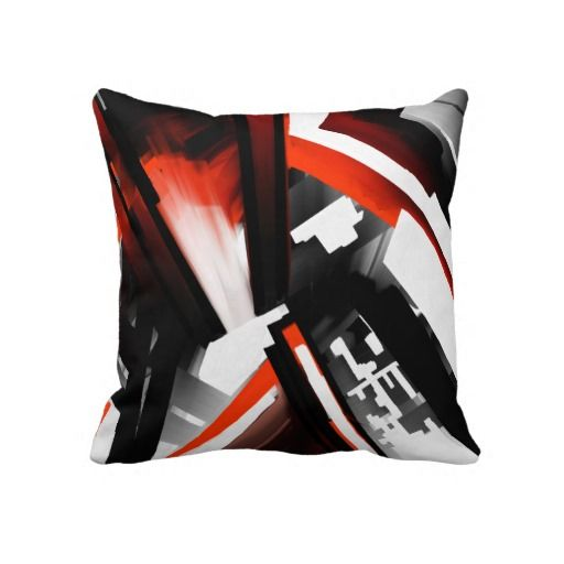 Red Black and White Abstract Throw Pillow