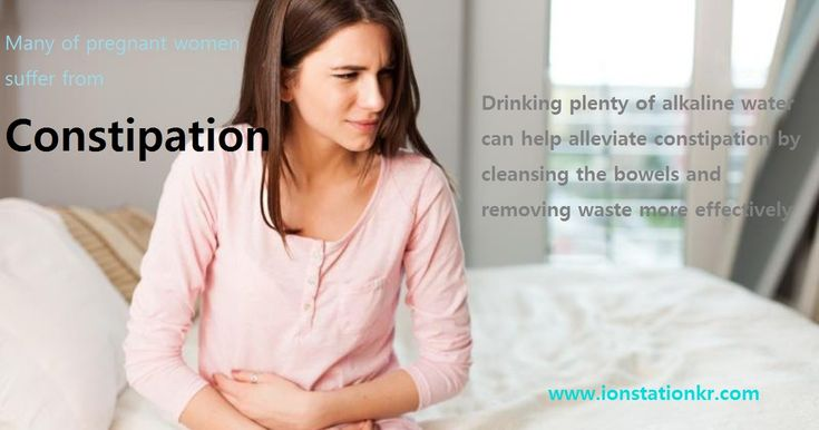 Over 50% of women suffer from constipation during their pregnancy. Increased progesterone, added pressure of the uterus on the rectum in late pregnancy, and increased iron supplementation can be the main reason of that. Drinking much of alkaline water can easily help moderate constipation by cleansing the bowels and removing waste more effectively.  Please visit us: www.ionstationkr.com