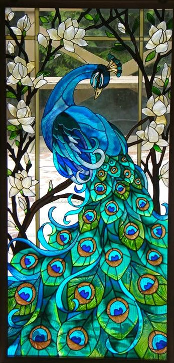Peacock and Lotus FLowers window panel