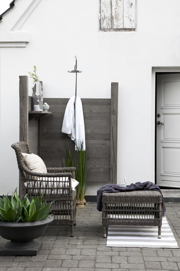 grey patio + outdoor shower ... More shower inspiration www.coastallife.net.au