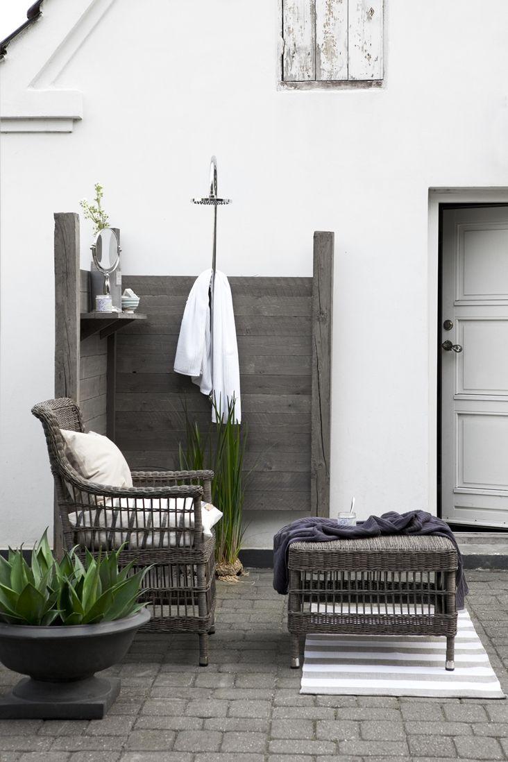 grey patio + outdoor shower ... More shower inspiration www.coastallife.net.au