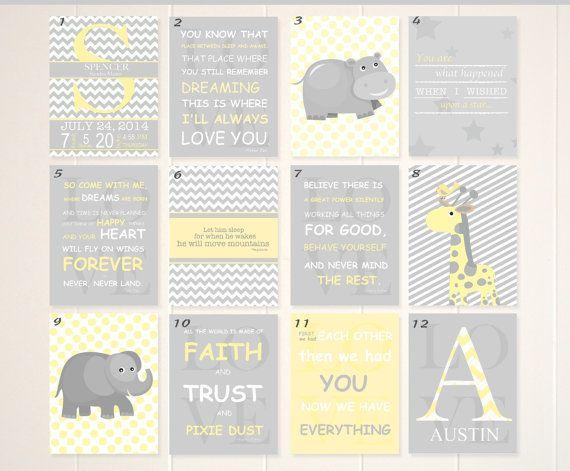 Grey yellow nursery art nursery book quotes by PicabooArtStudio, $17.00