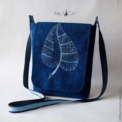 """Сумка """"Отражение на воде"""" - тёмно-синий,рисунок,сумка,сумка женская,сумка ручной работы"""